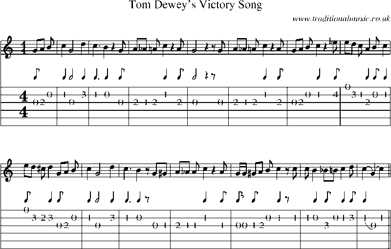 Guitar Tab and sheet music for Tom Dewey's Victory Song