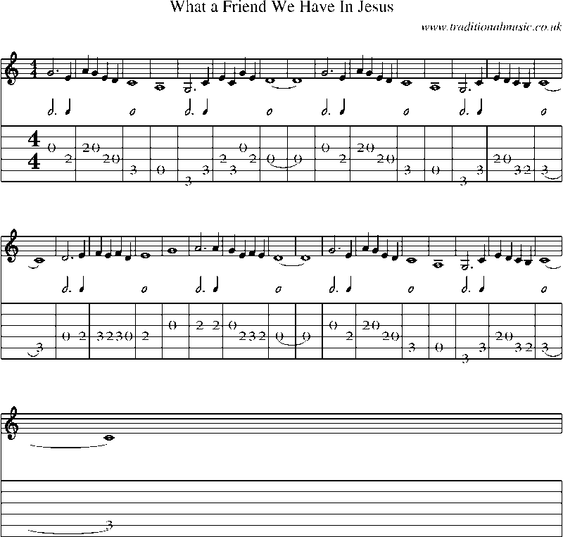 Guitar Tab and sheet music for What A Friend We Have In Jesus