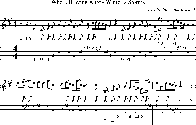 Guitar tab and sheet music for where braving angry winter s storms