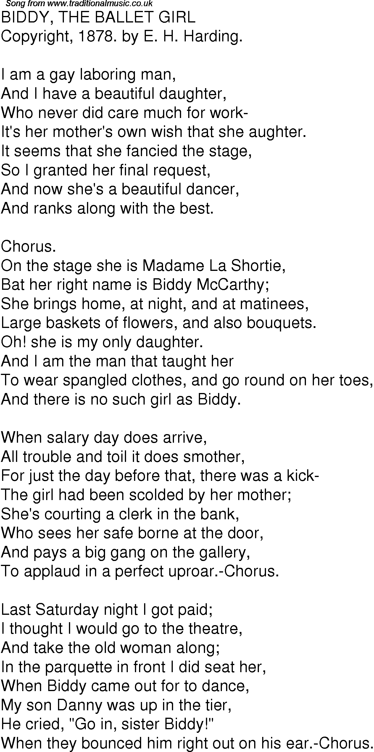 Old Time Song Lyrics for 01 Biddy The Ballet Girl