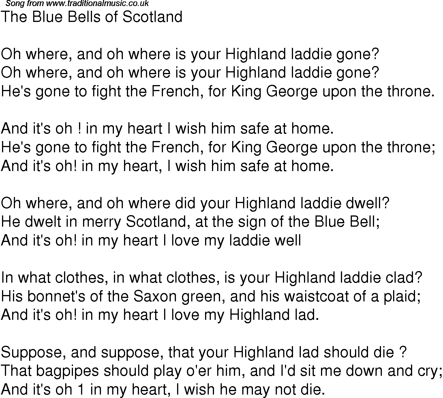 Old Time Song Lyrics for 01 The Blue Bells Of Scotland