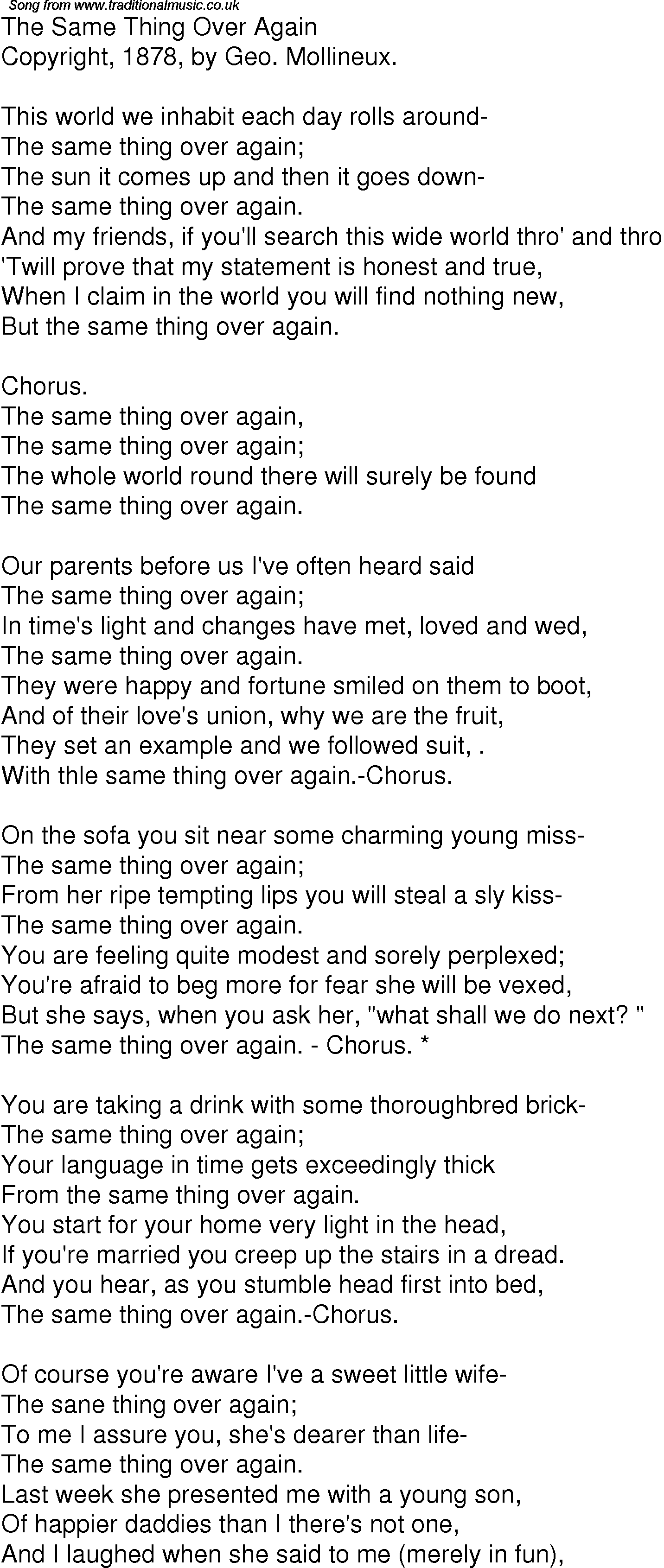 Old Time Song Lyrics For 01 The Same Thing Over Again