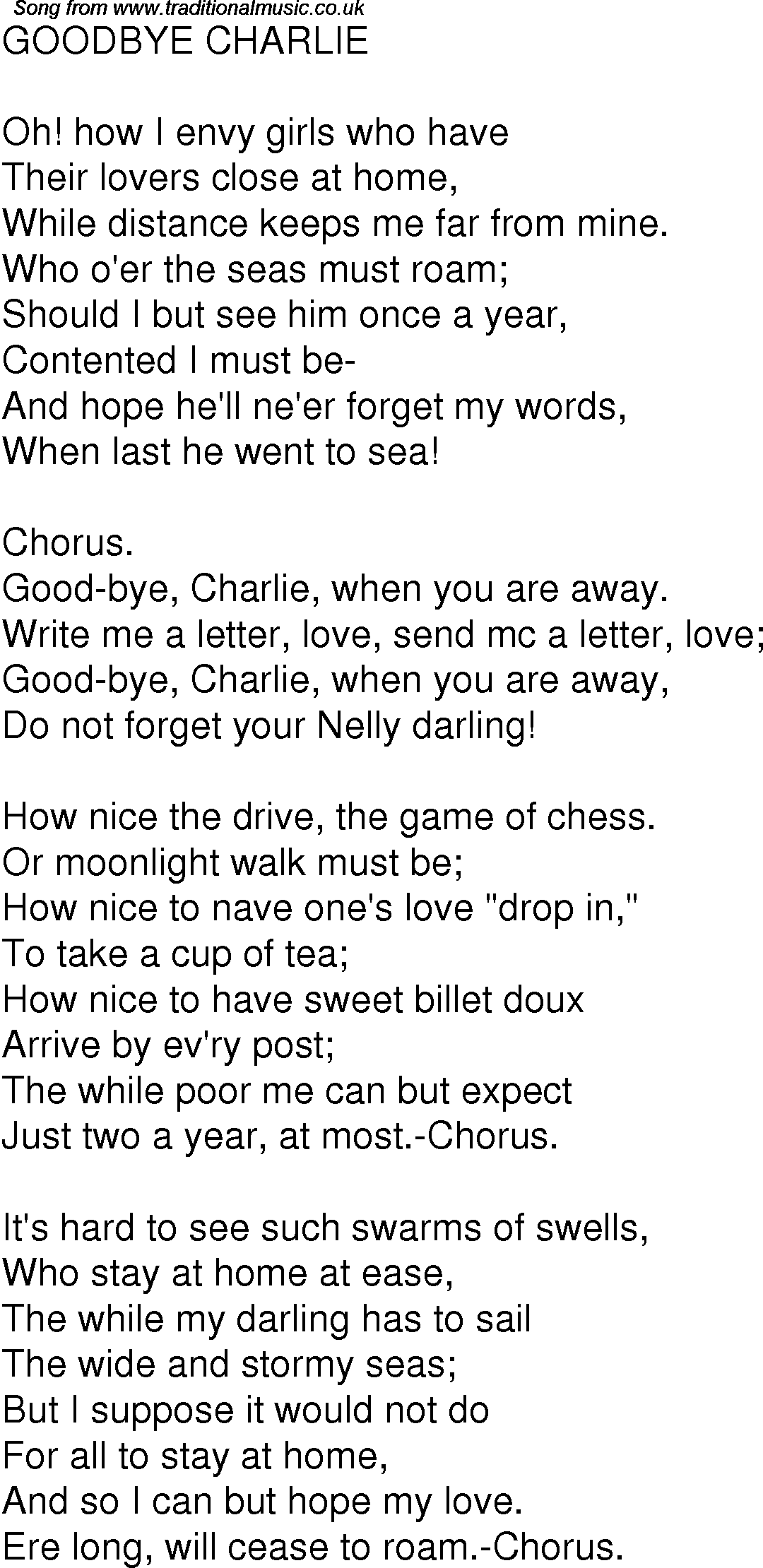 Old Time Song Lyrics for 02 Goodbye Charlie