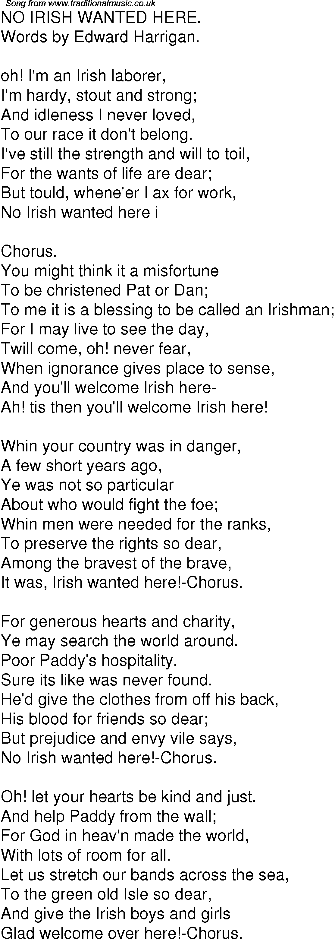 Old Time Song Lyrics for 04 No Irish Wanted Here