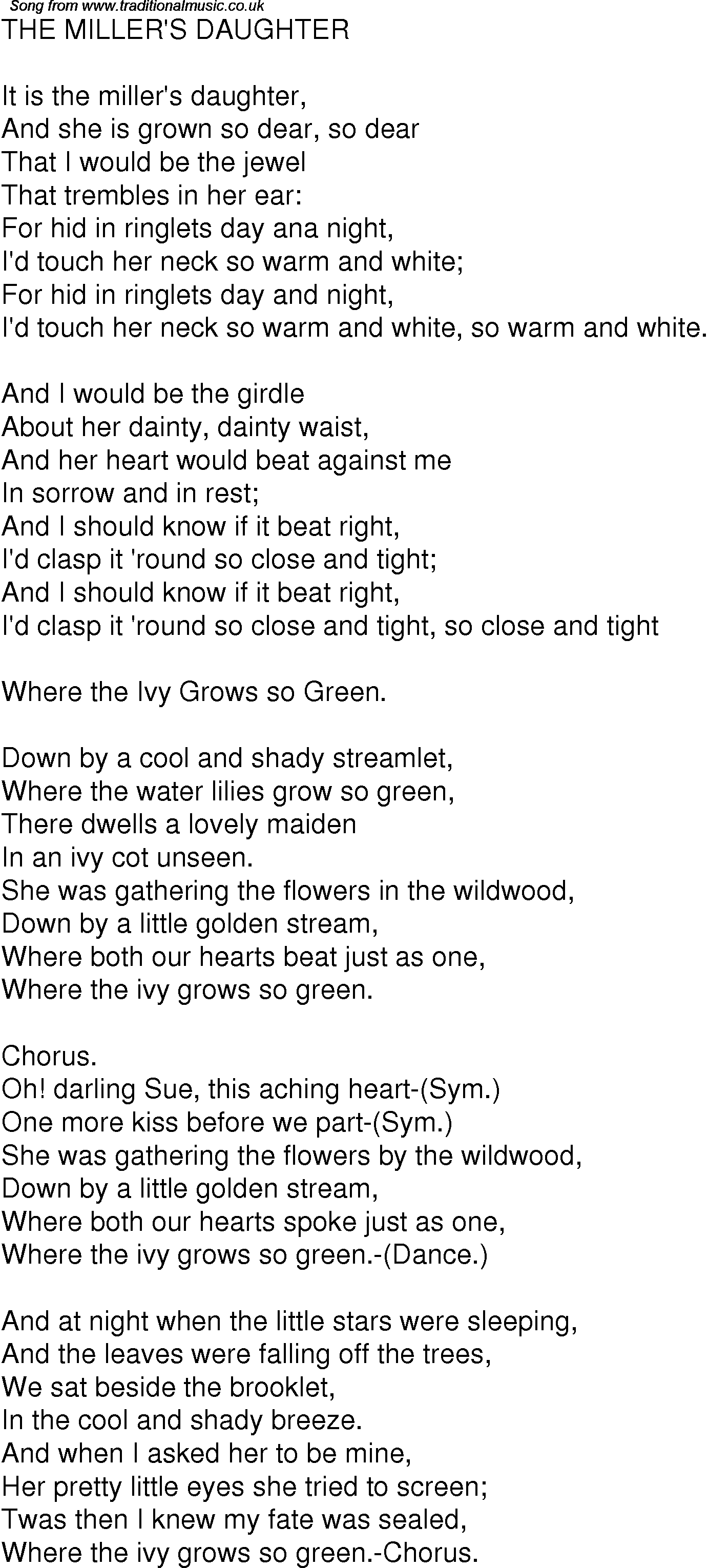 Old Time Song Lyrics for 04 The Millers Daughter