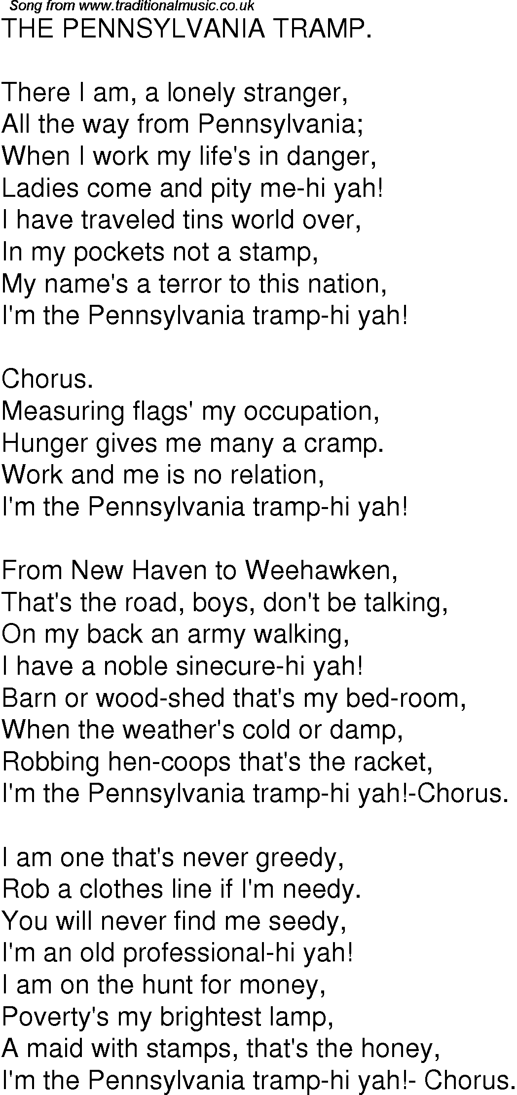 Old Time Song Lyrics For 04 The Pennsylvania Tramp