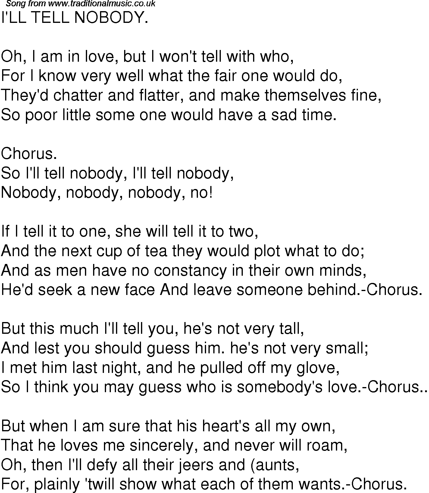 Old Time Song Lyrics For 05 I'll Tell Nobody