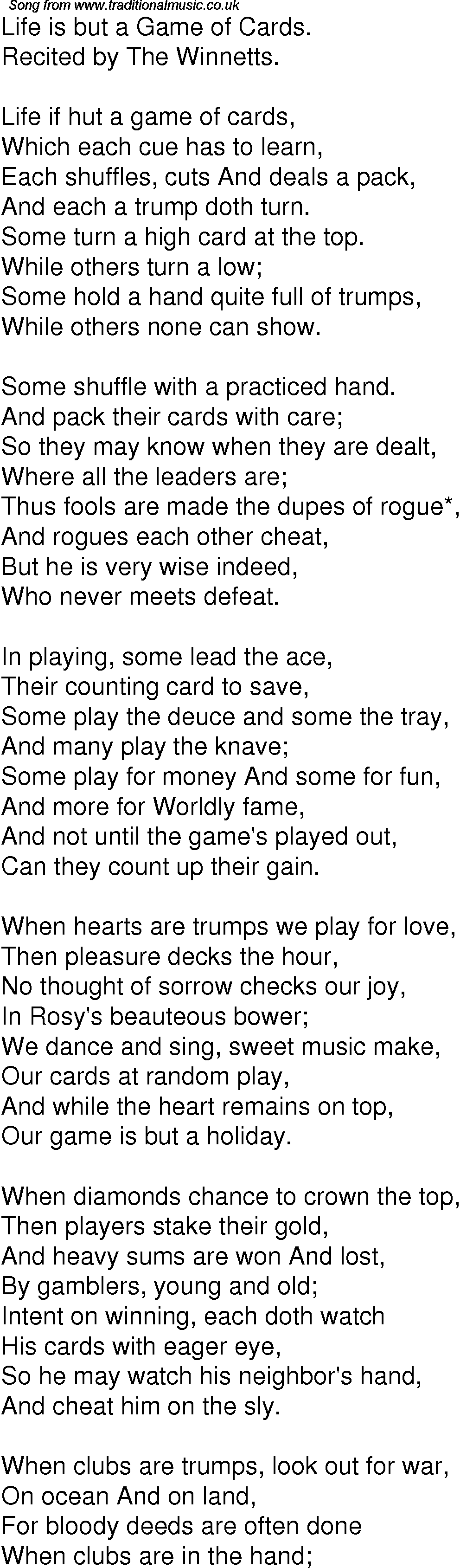 Old Time Song Lyrics For 05 Life Is But A Game Of Cards