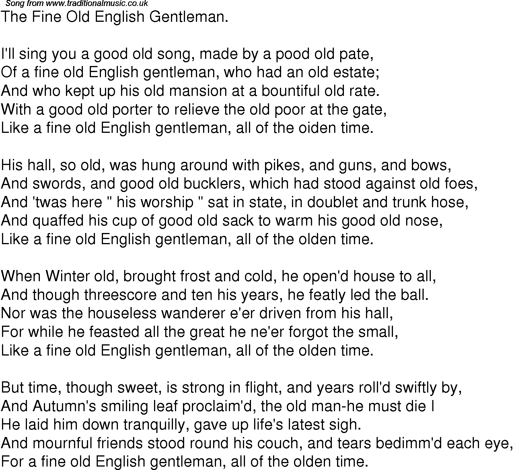 Old Time Song Lyrics for 05 The Fine Old English Gentleman