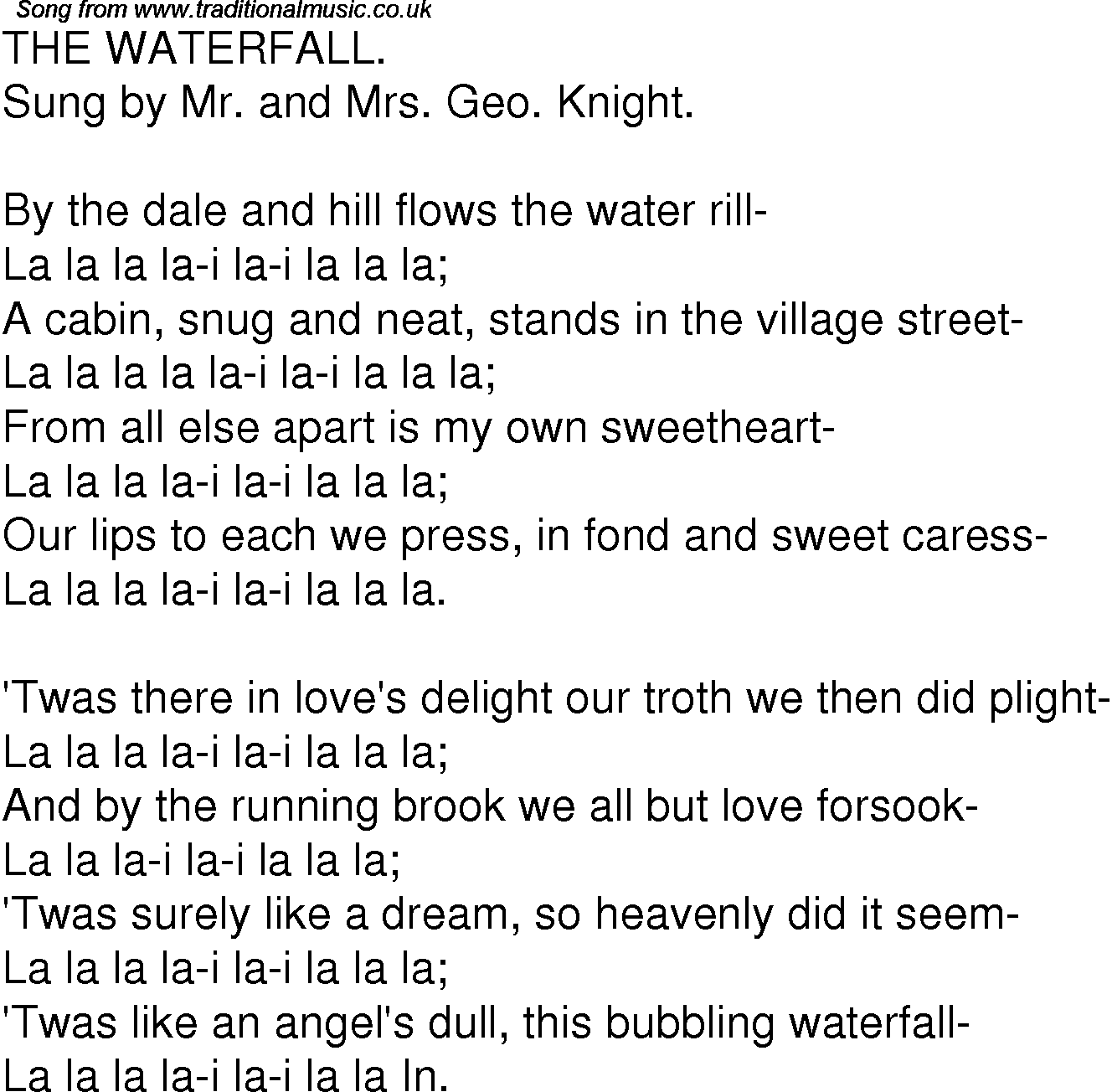 Old Time Song Lyrics For 05 The Waterfall