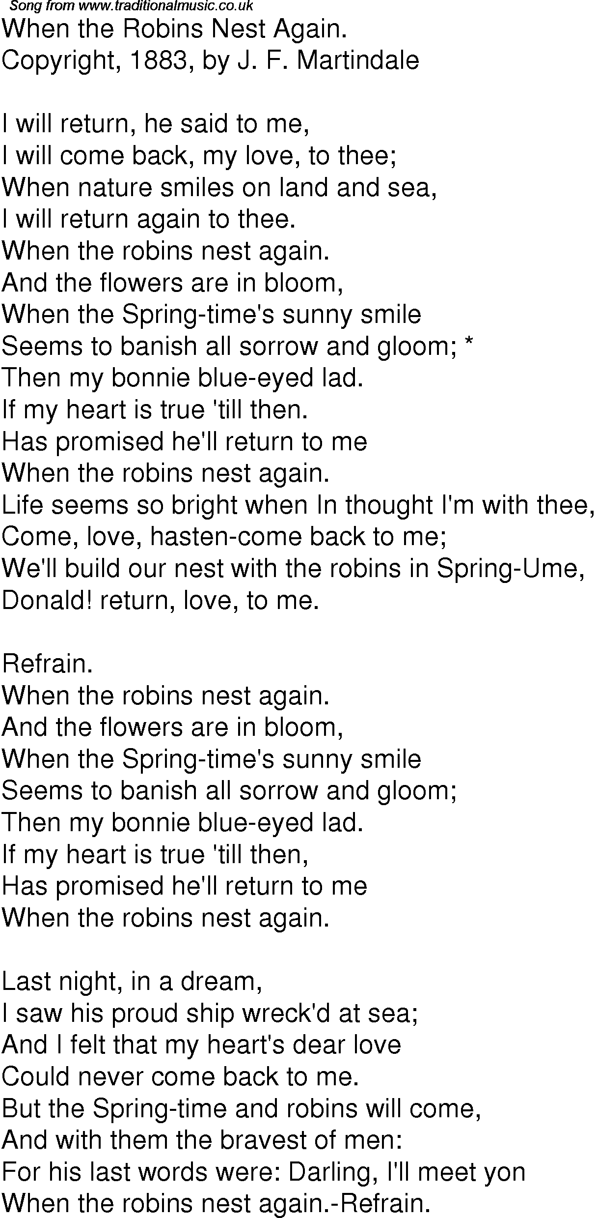 Old Time Song Lyrics For 05 When The Robins Nest Again