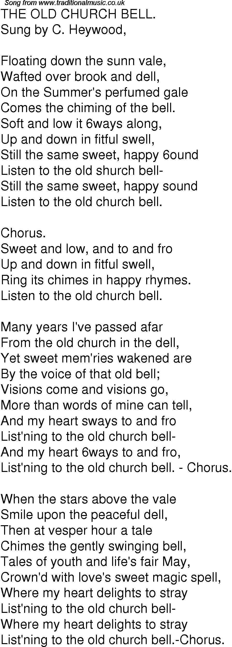 Old Time Song Lyrics for 06 The Old Church Bell