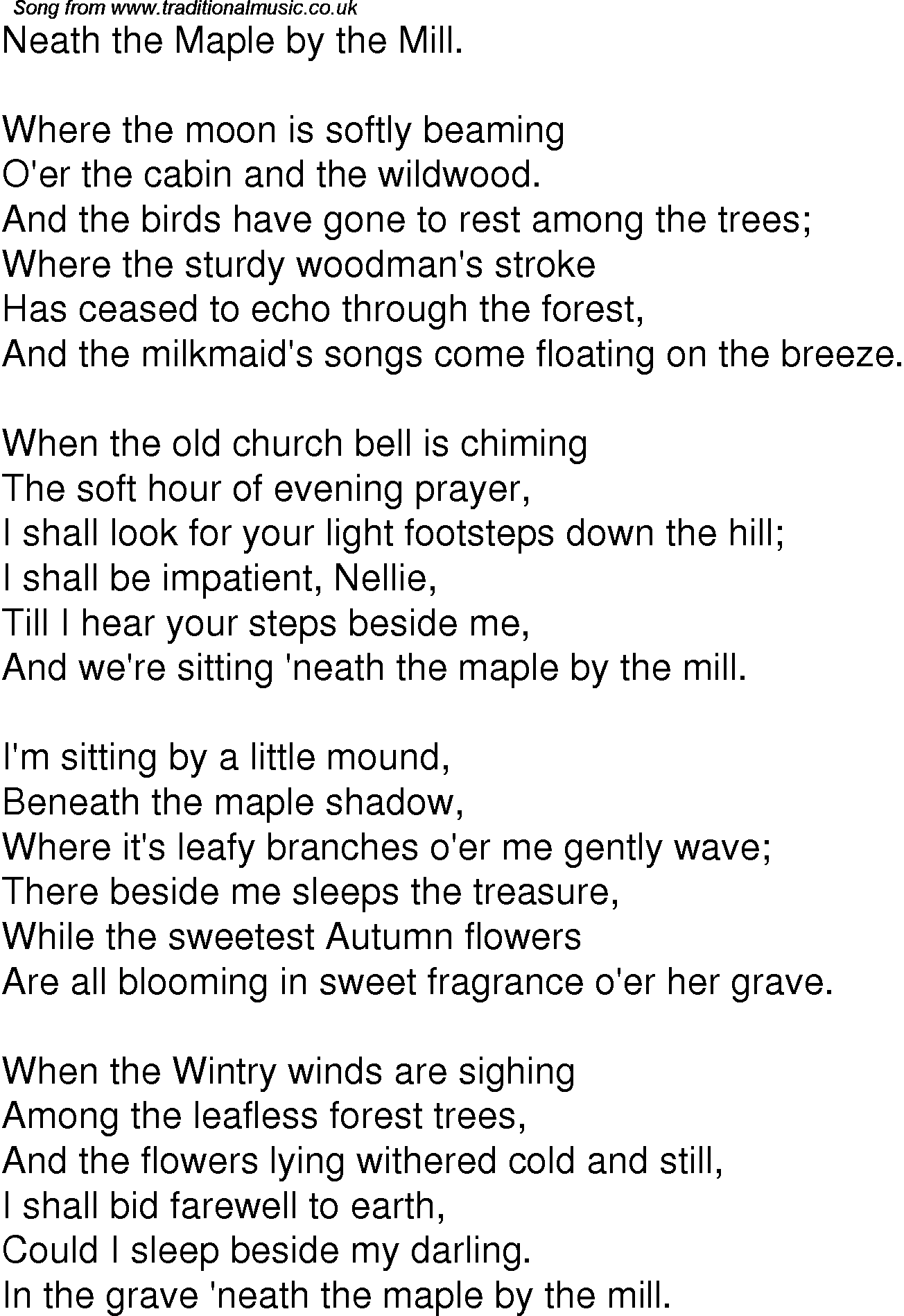 Old Time Song Lyrics for 08 Neath The Maple By The Mill