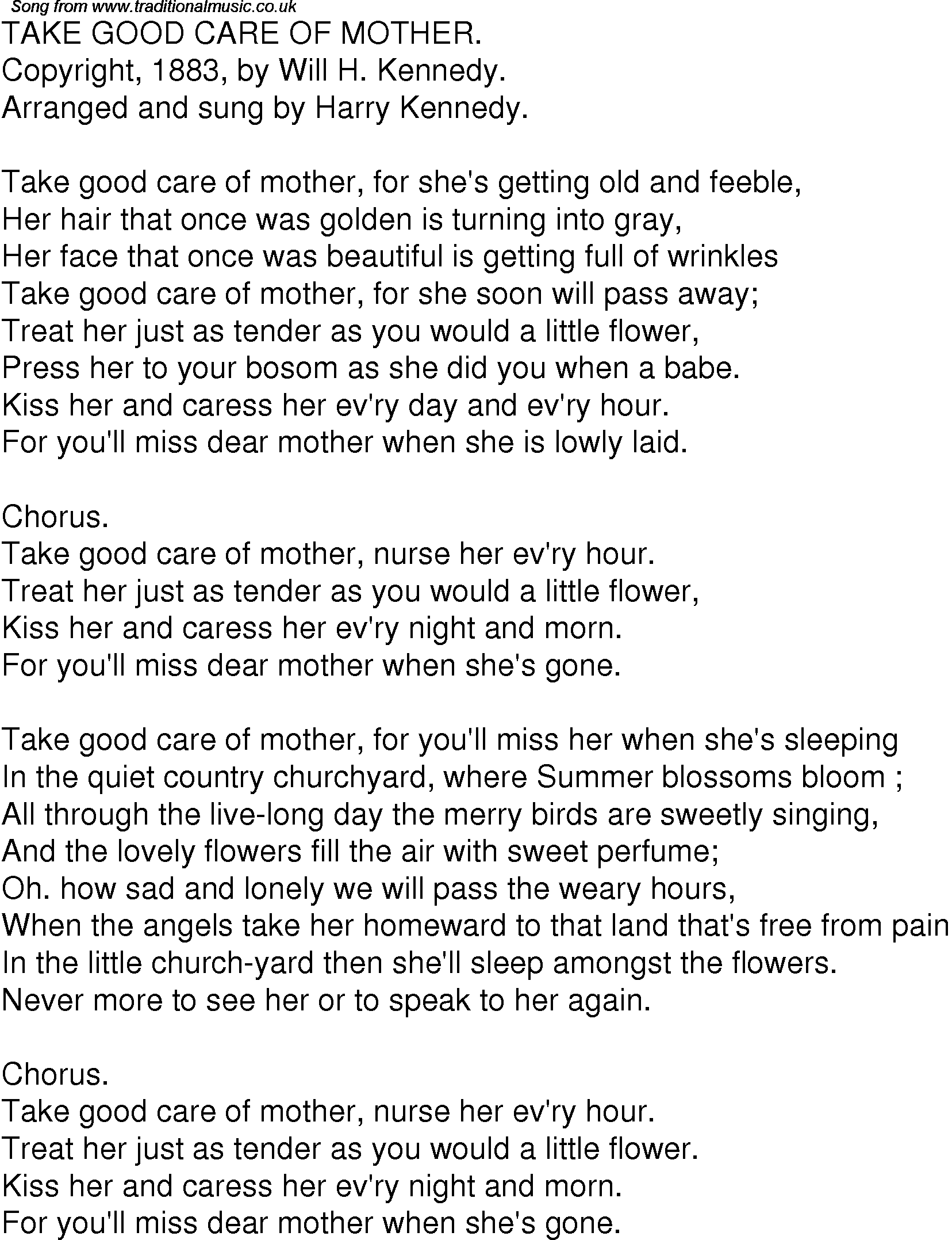 Old Time Song Lyrics for 09 Take Good Care Mother