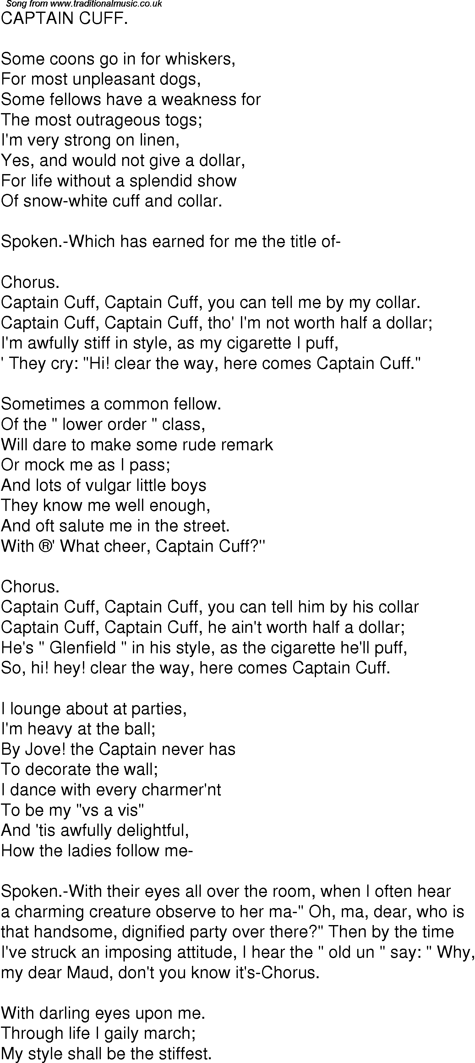 Captain oh lyrics