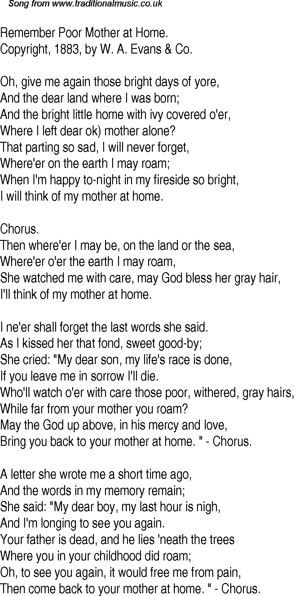 Old time song lyrics for 11 remember poor mother at home download music lyrics as png graphic file publicscrutiny Images
