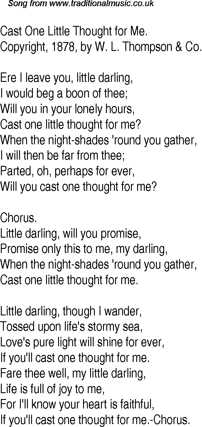 Old Time Song Lyrics for 12 Cast One Little Thought For Me