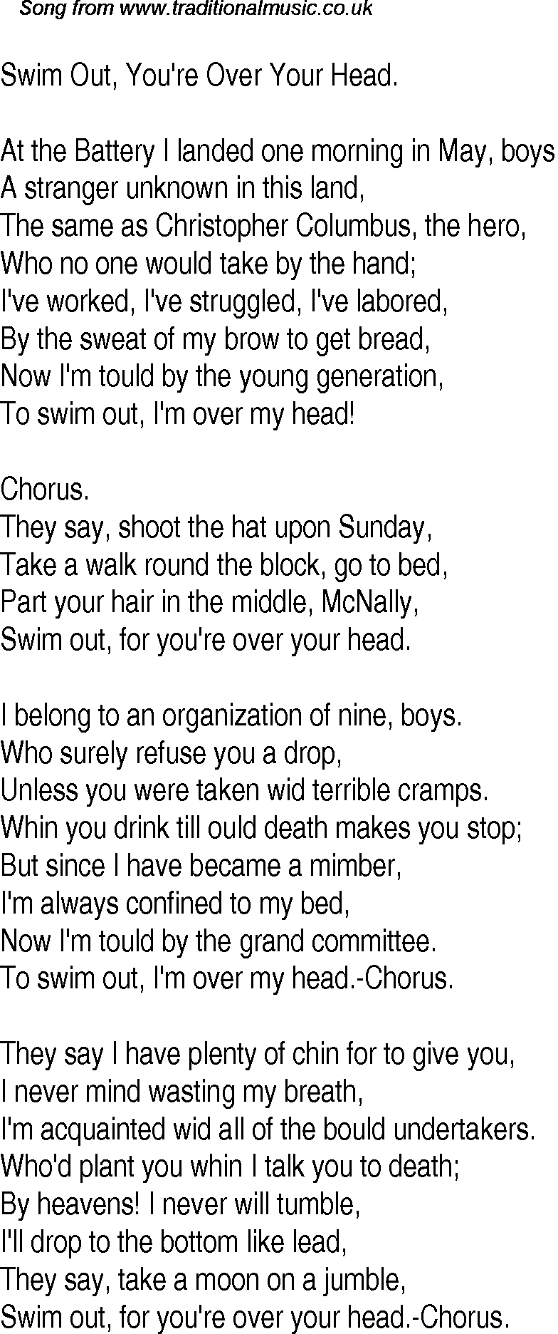 Old time song lyrics for 12 swim out youre over your head for Swimming swimming in the swimming pool song lyrics