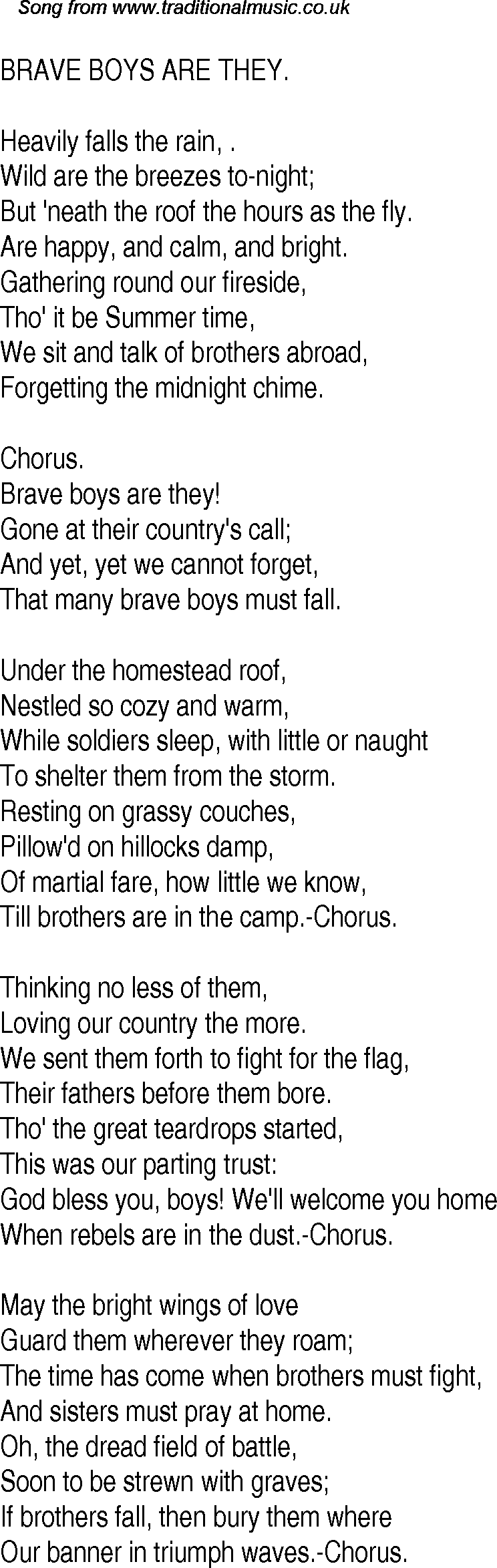 Old Time Song Lyrics for 13 Brave Boys Are They