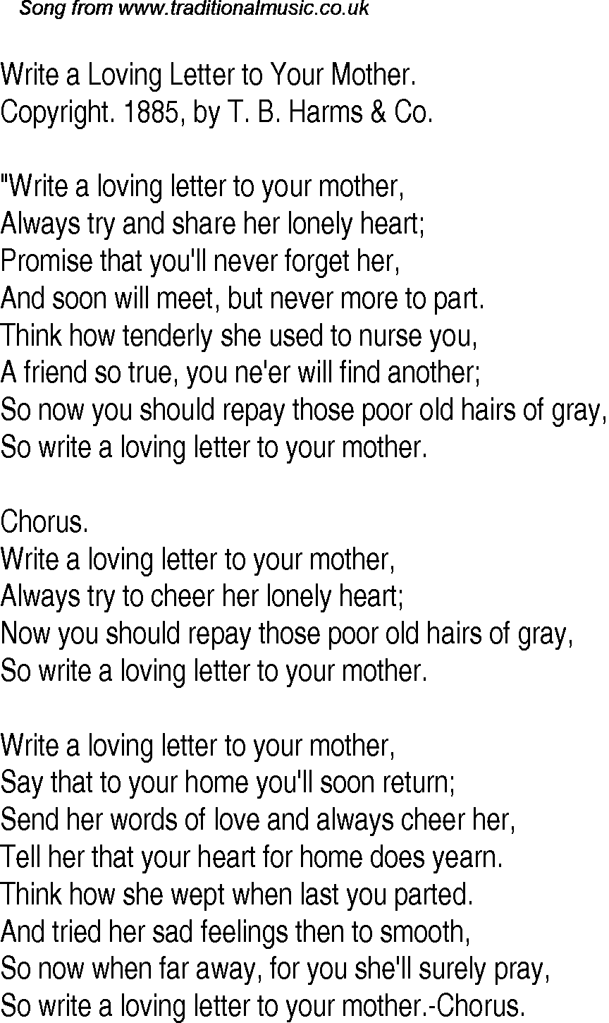 Old Time Song Lyrics For  Write A Loving Letter To Your Mother