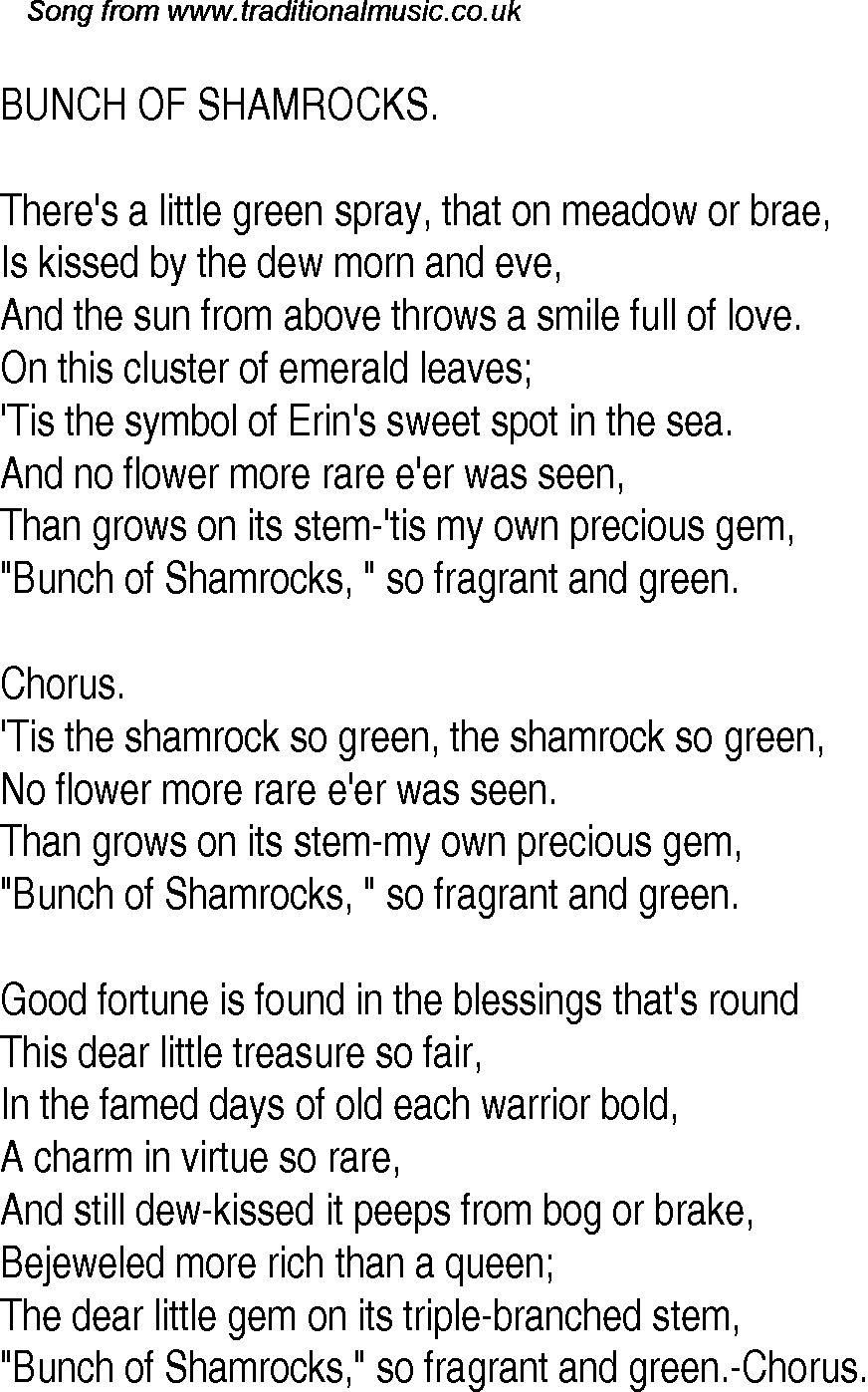 Old time song lyrics for 18 bunch of shamrocks inclusion in dtp etc biocorpaavc Choice Image