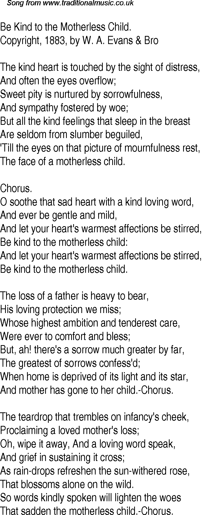 Old Time Song Lyrics for 19 Be Kind To The Motherless Child