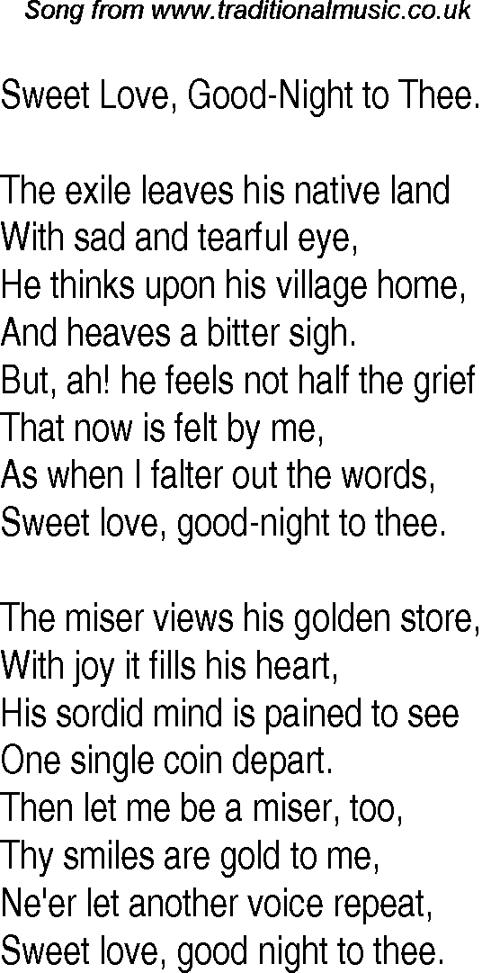 Old Time Song Lyrics for 19 Sweet Love, Good Night To Thee
