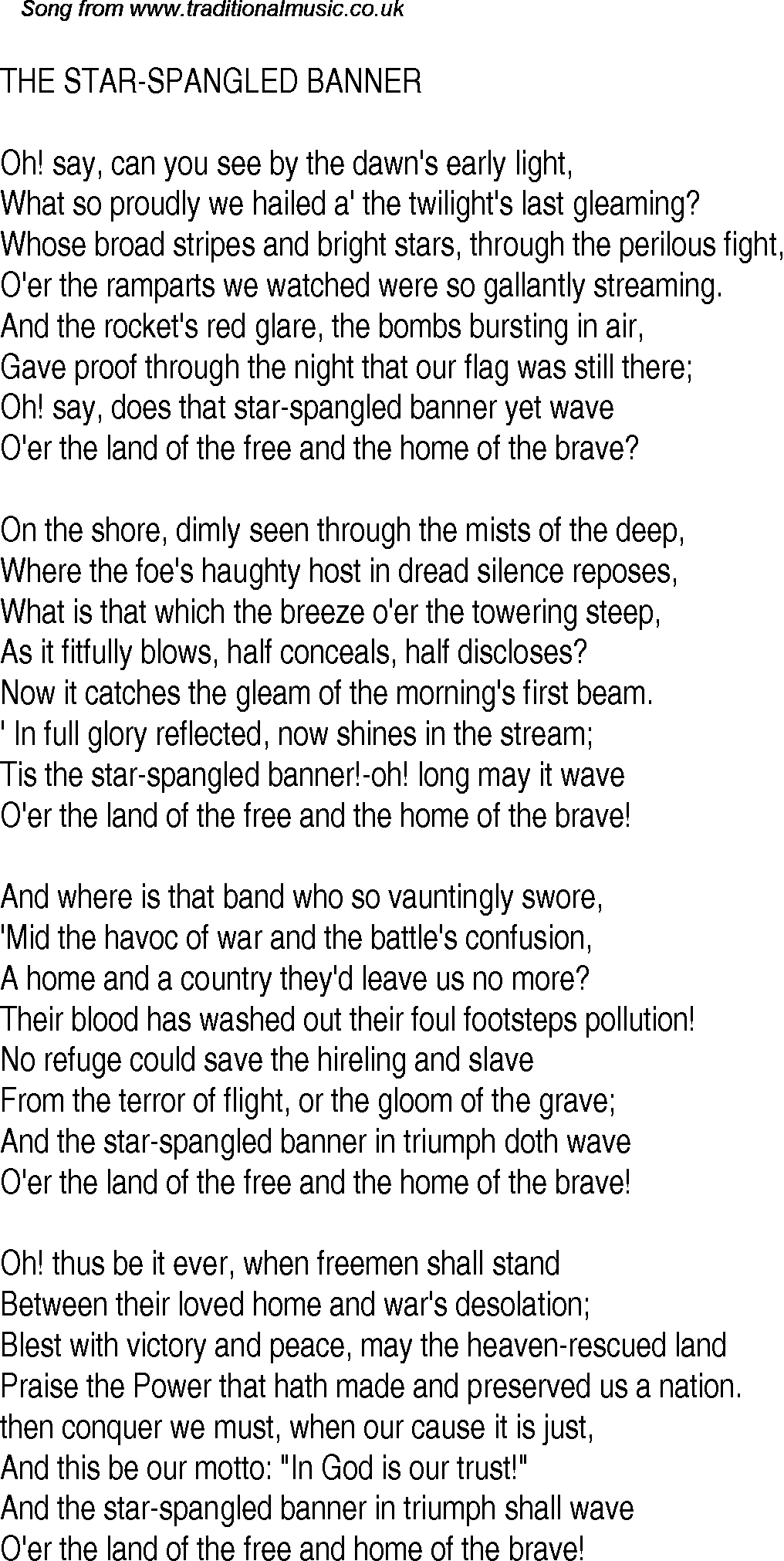 Star spangled banner lyrics meaning
