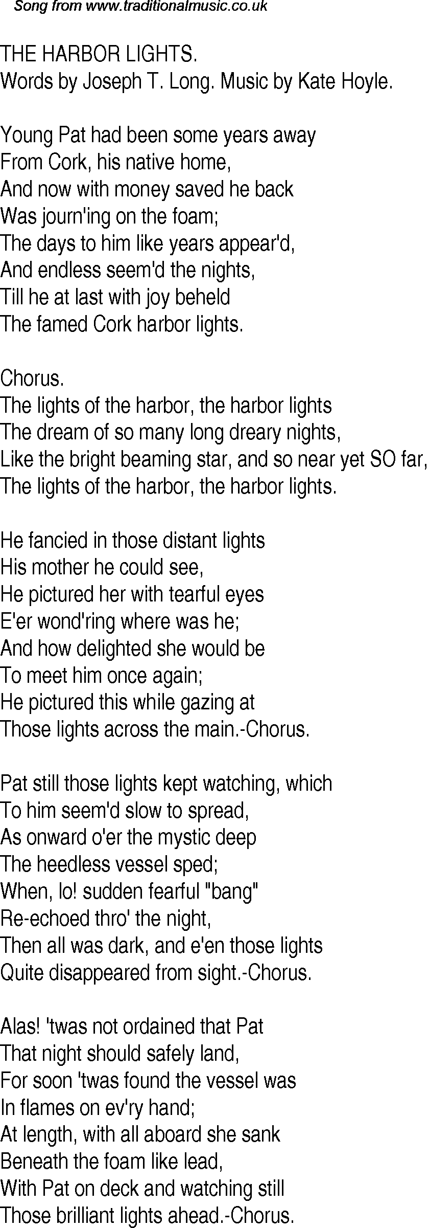 Old Time Song Lyrics for 21 The Harbor Lights