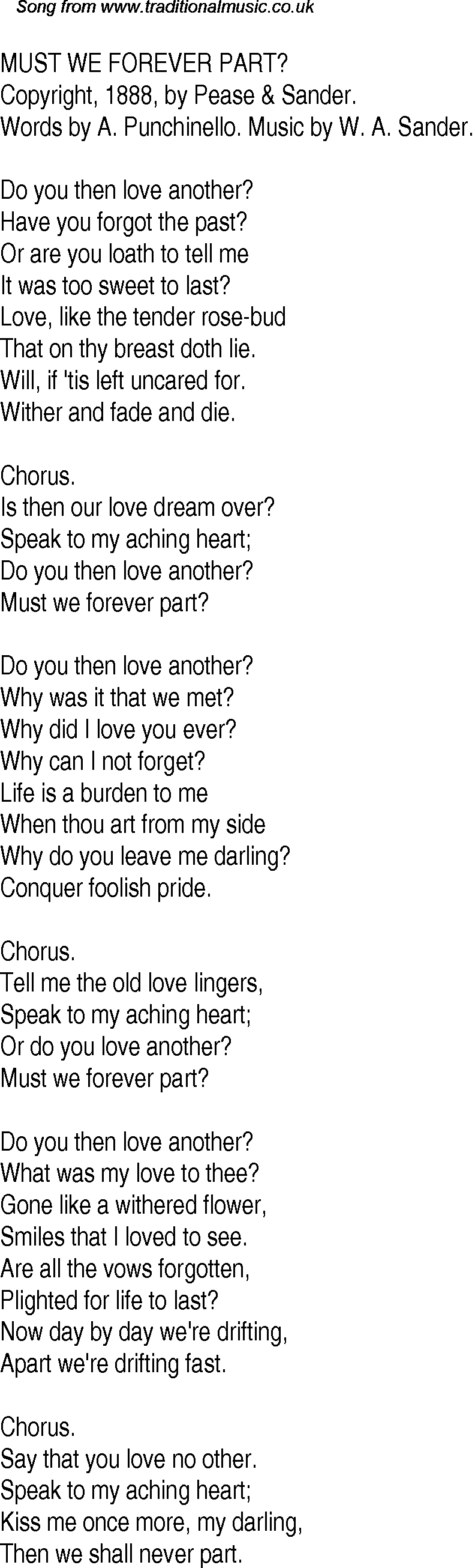 Old Time Song Lyrics for 22 Must We Forever Part