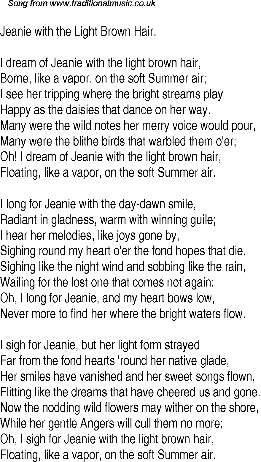 Old Time Song Lyrics For 24 Jeanie With The Light Brown Hair