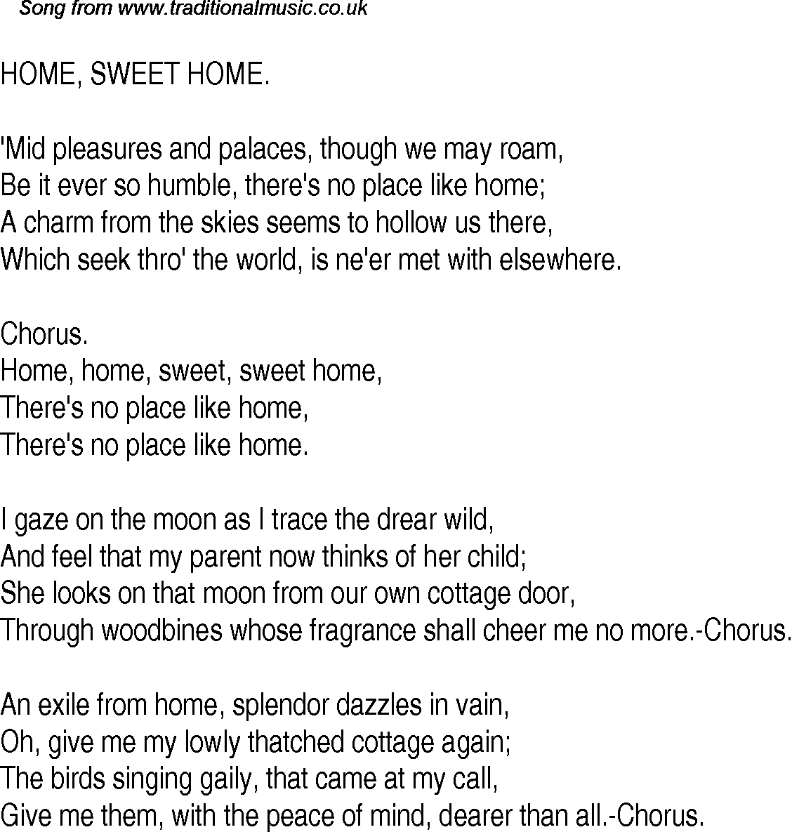 American Old Time Song Lyrics: 25 Home, Sweet Home