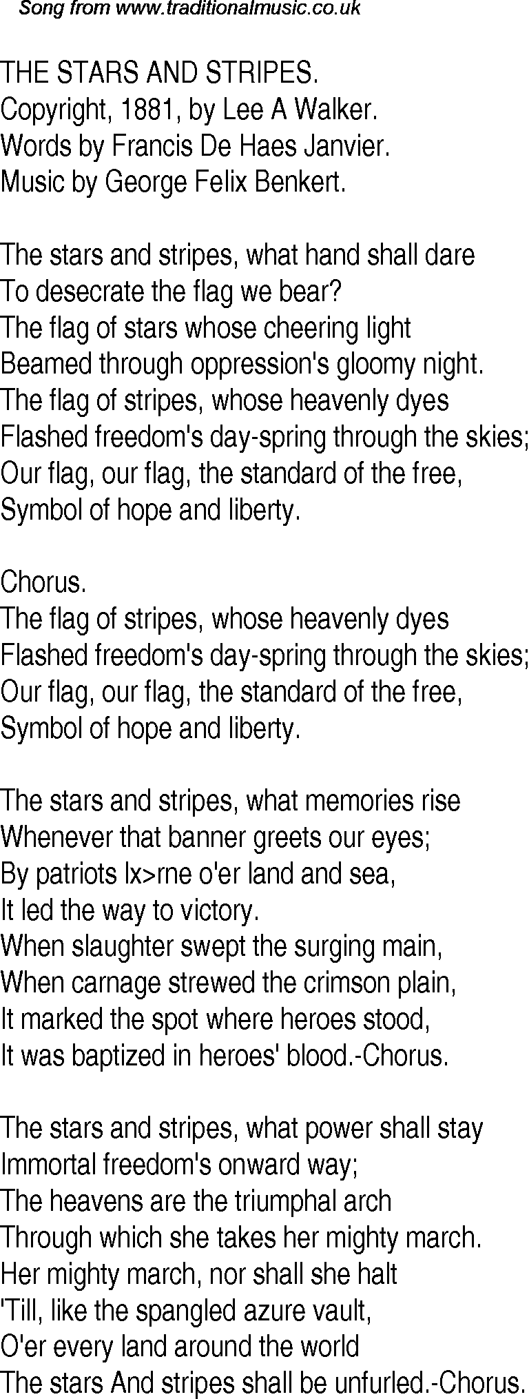 Old time song lyrics for 25 the stars and stripes inclusion in dtp etc biocorpaavc Choice Image