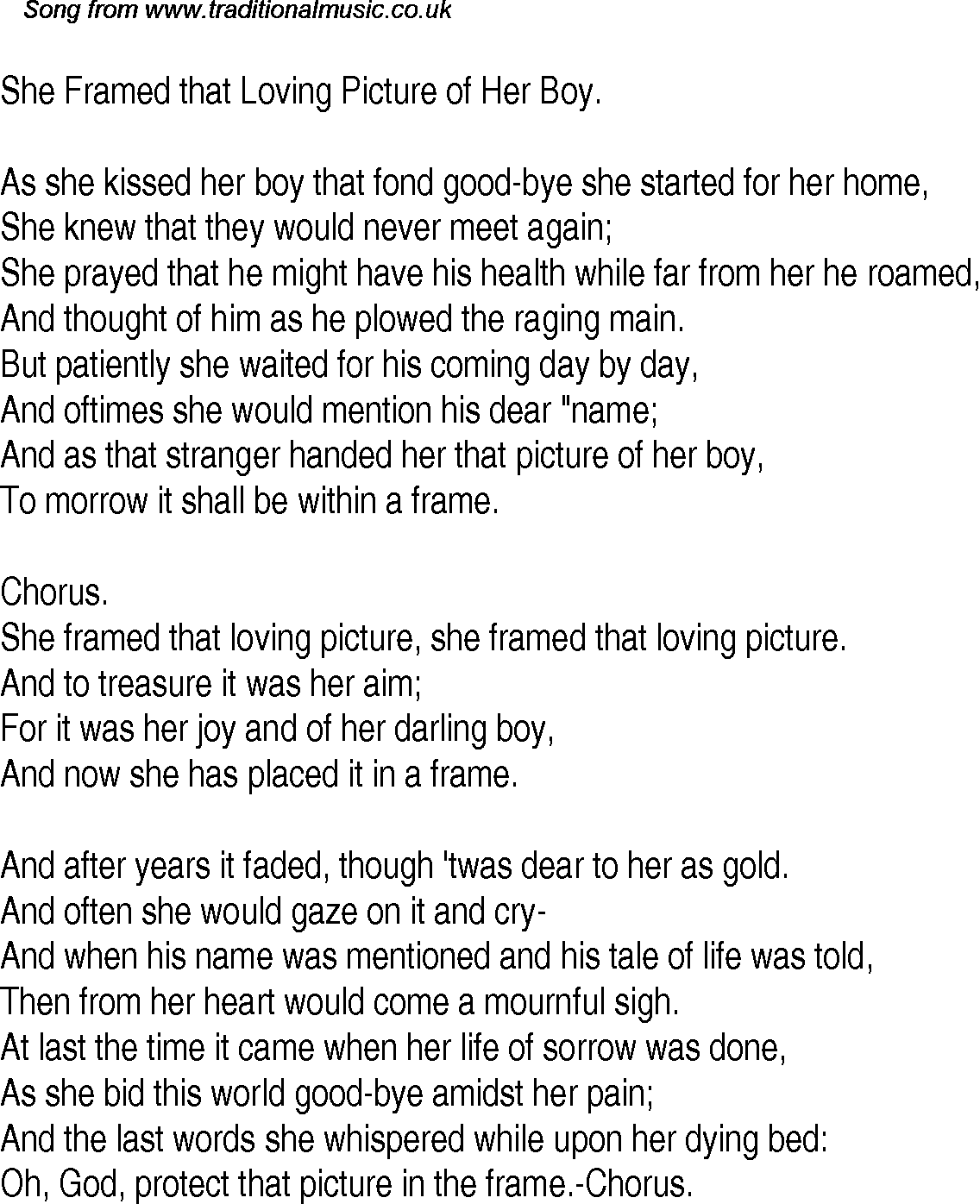 old time song lyrics for 26 she framed that loving picture of her boy