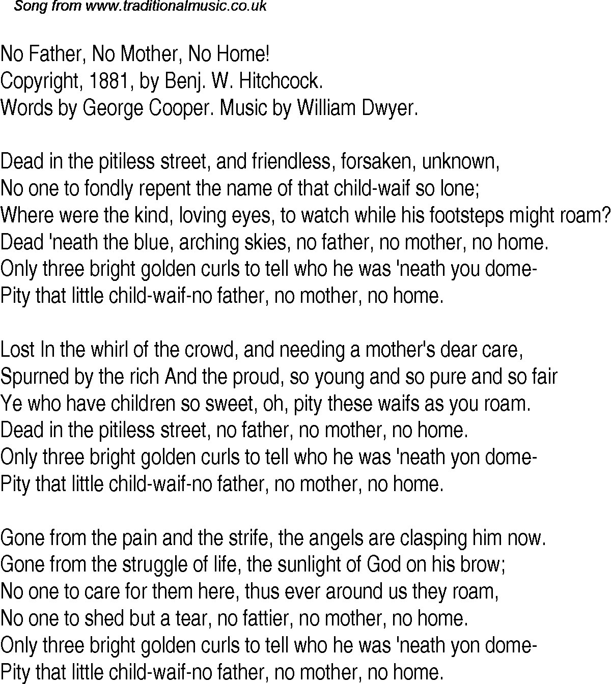 When Child Is Killed By Parent Word But >> Old Time Song Lyrics For 28 No Father No Mother No Home