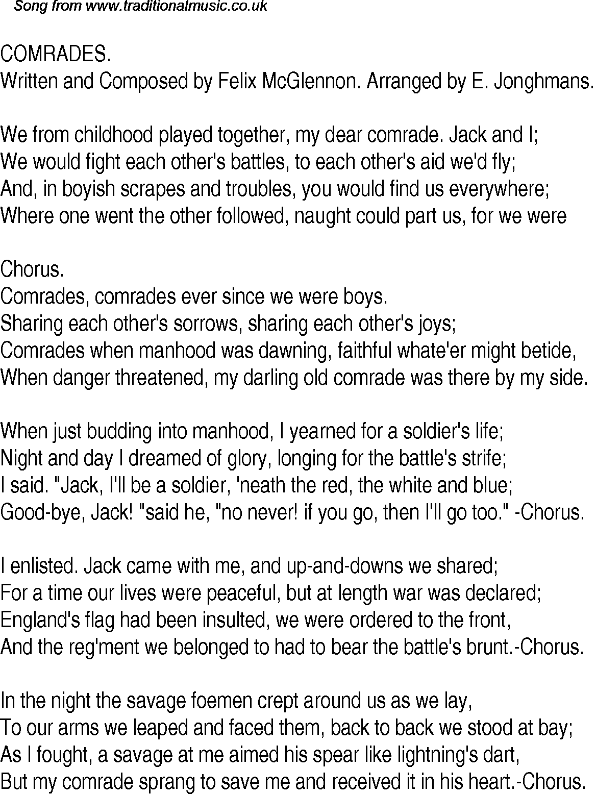 Old Time Song Lyrics for 29 Comrades