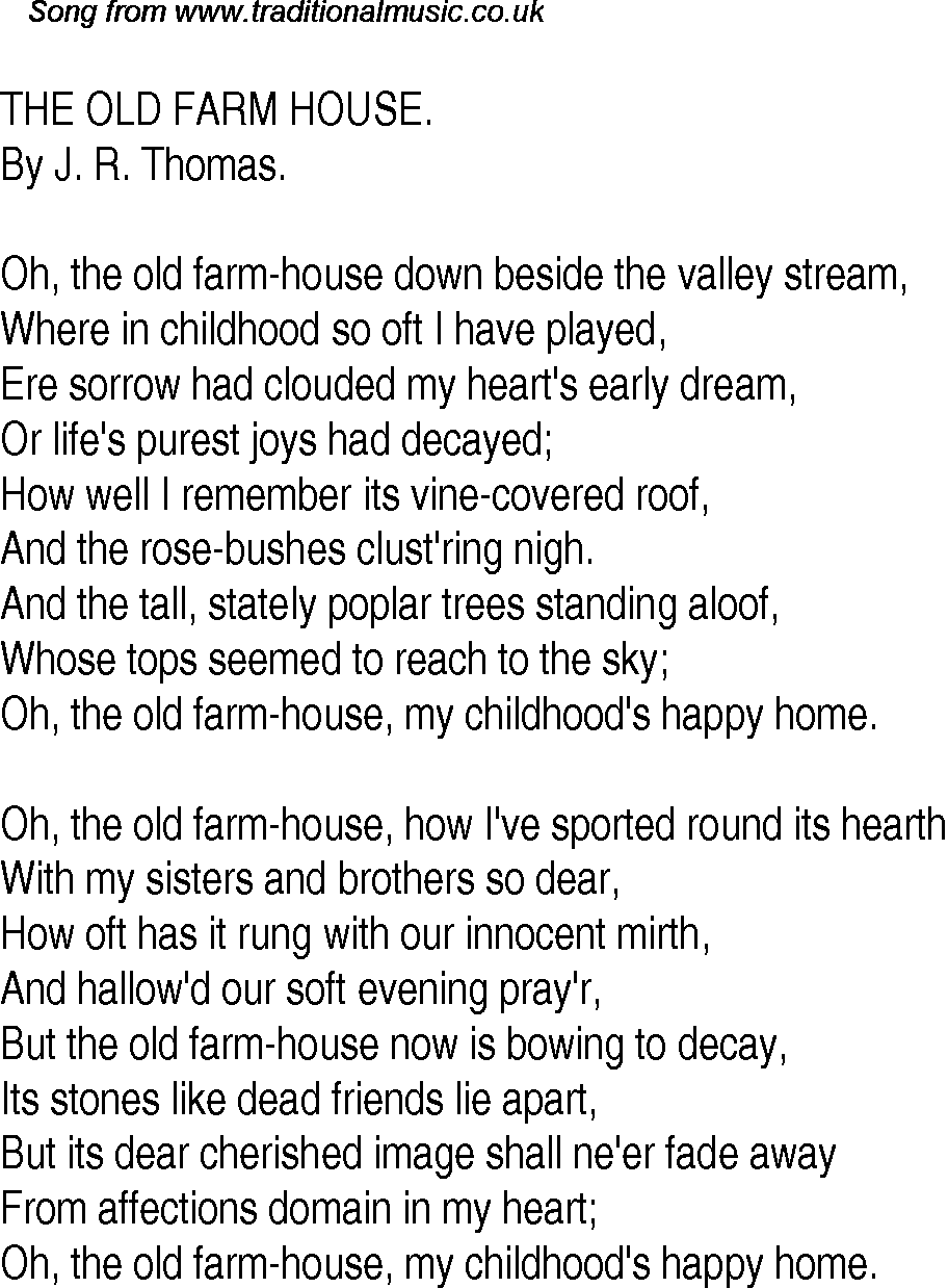 Old time song lyrics for 29 the old farm house for Old house songs