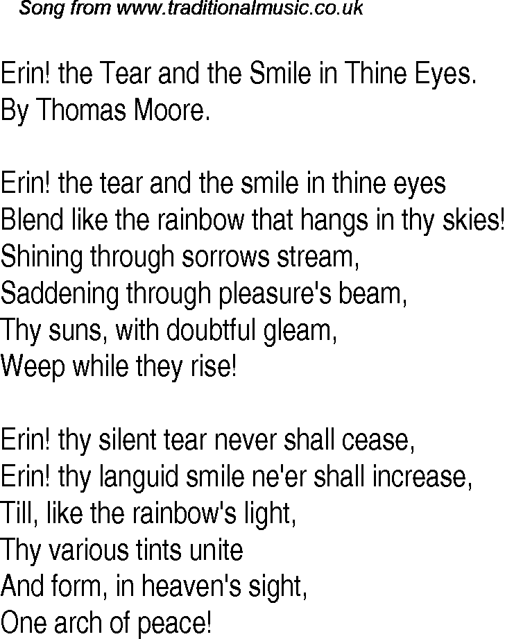 Lyric lyrics for brave : Old Time Song Lyrics for 30 Erin The Tear And The Smile In Thine Eyes