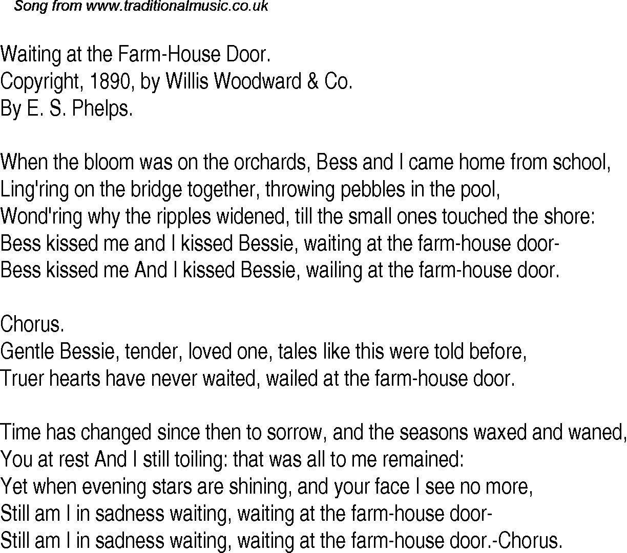 American old time song lyrics for waiting at the farm for Best house songs of all time