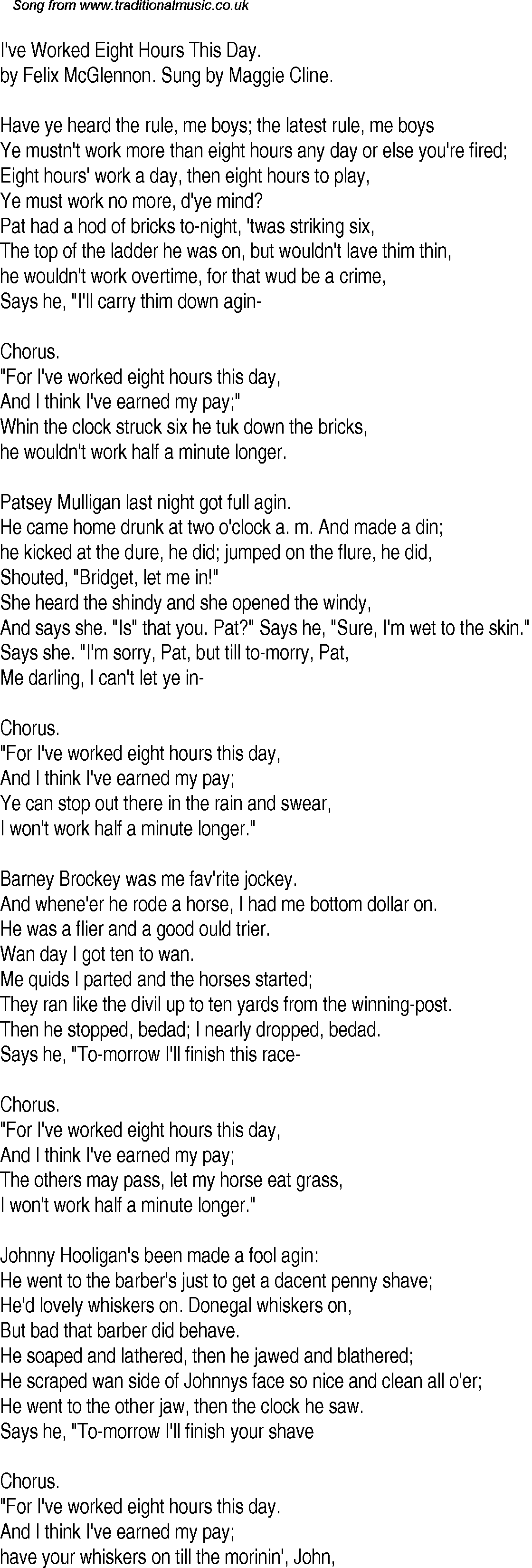 Old Time Song Lyrics for 31 I've Worked Eight Hours This Day