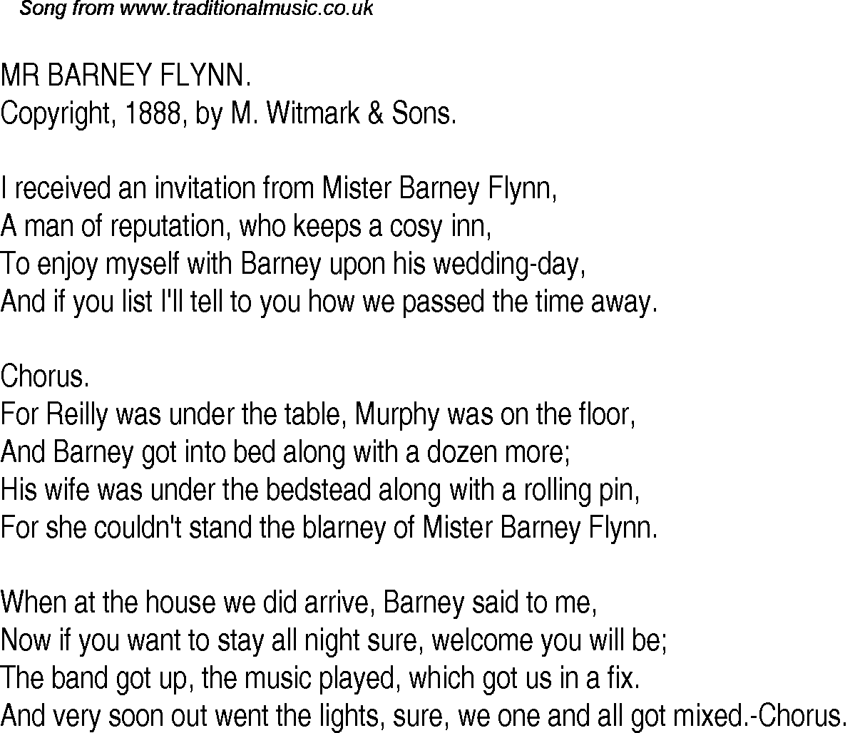 Old time song lyrics for 31 mr barney flynn download music lyrics as png graphic file stopboris Gallery