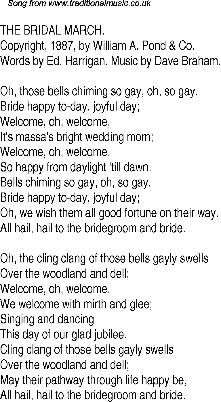 Old Time Song Lyrics For 31 The Bridal March