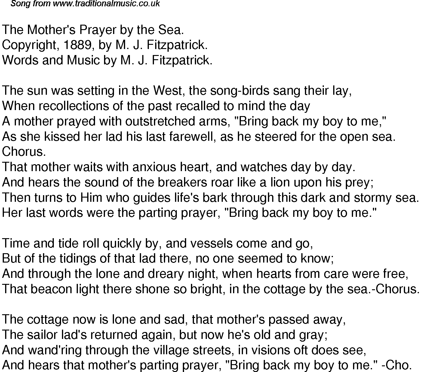 Old time song lyrics for 32 the mothers prayer by the sea download music lyrics as png graphic file publicscrutiny Images