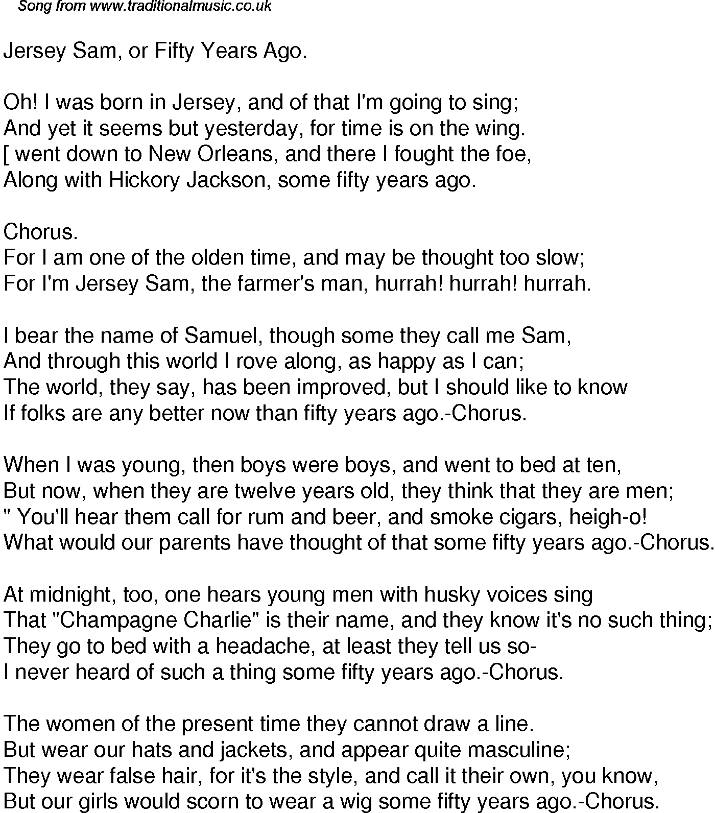 Old Time Song Lyrics For 33 Jersey Sam Or Fifty Years Ago