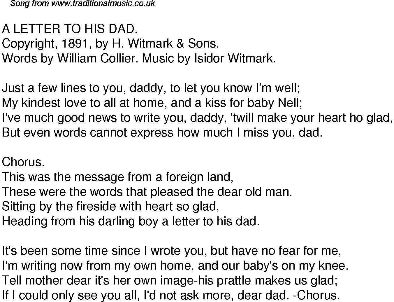 Old Time Song Lyrics for 34 A Letter To His Dad