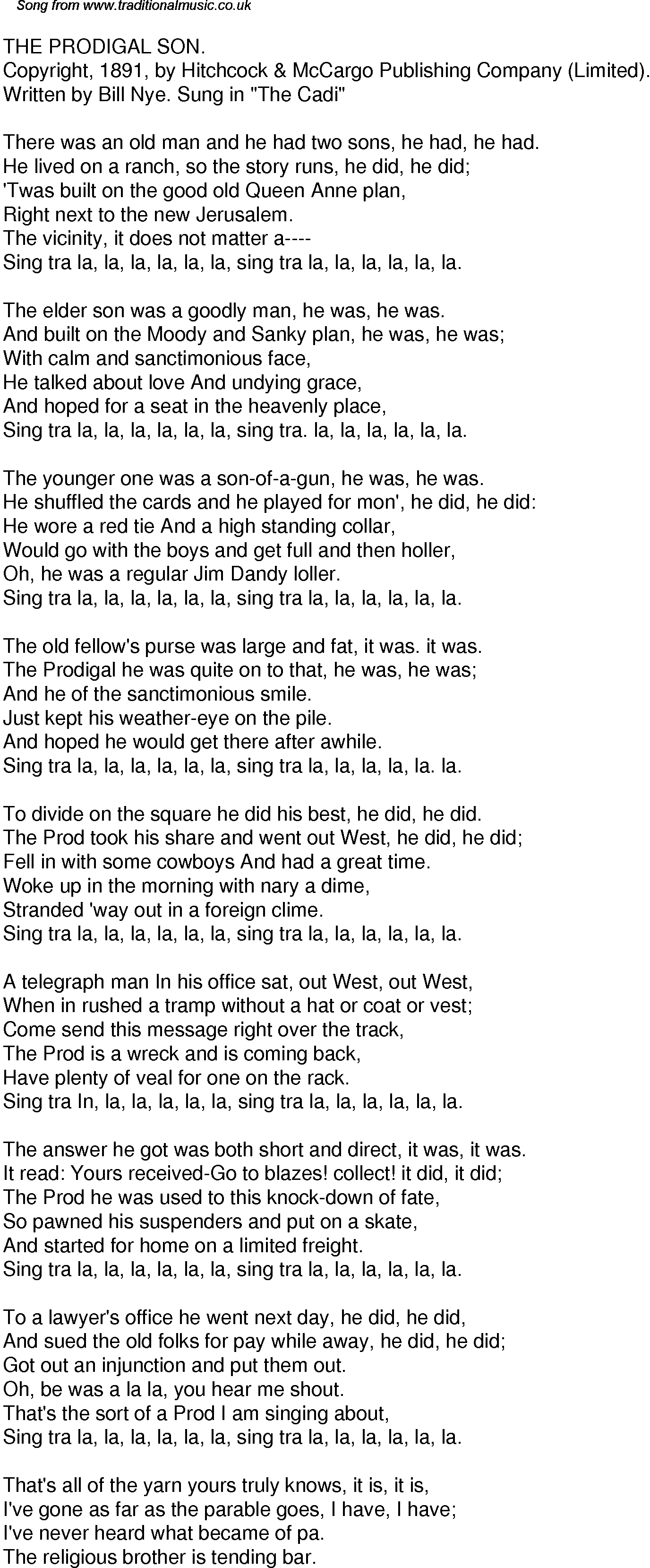 Old Time Song Lyrics for 34 The Prodigal Son