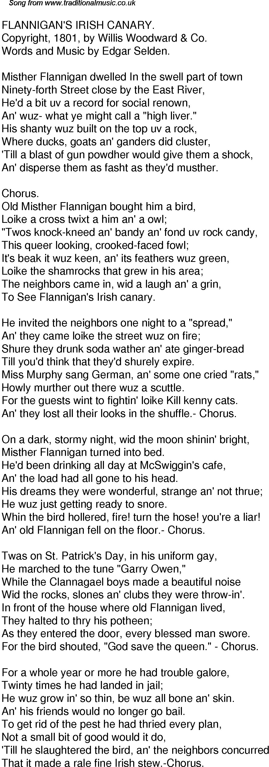 Old Time Song Lyrics for 35 Flannigans Irish Canary