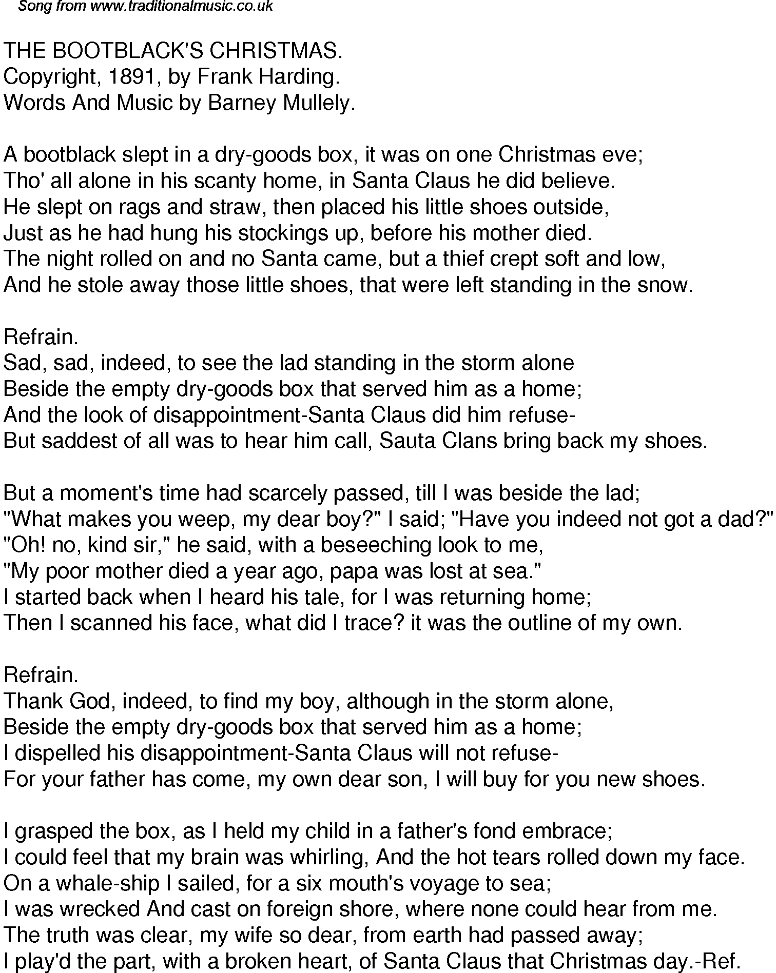 Old Time Song Lyrics for 35 The Bootblacks Christmas