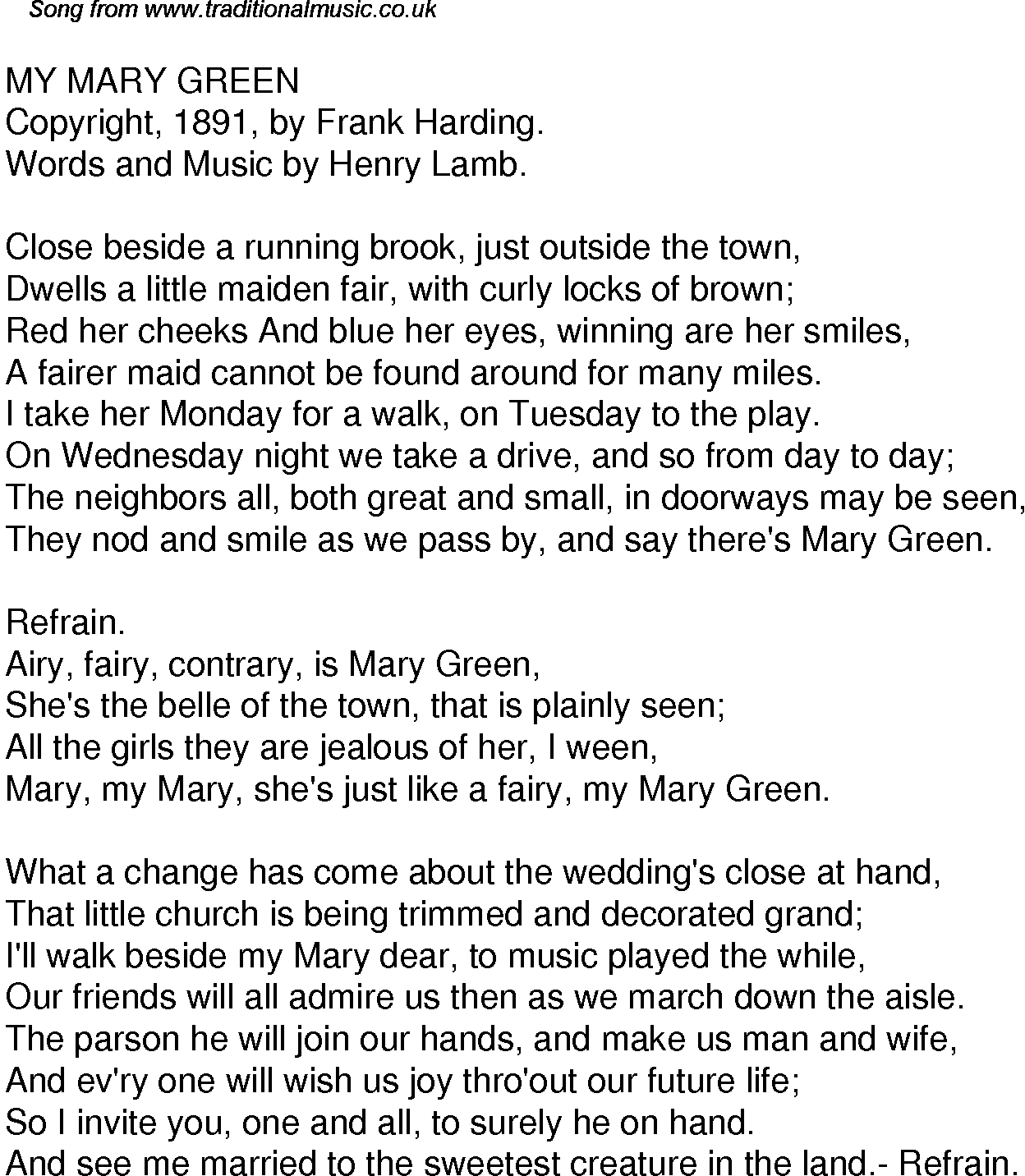 Old Time Song Lyrics For 36 My Mary Green