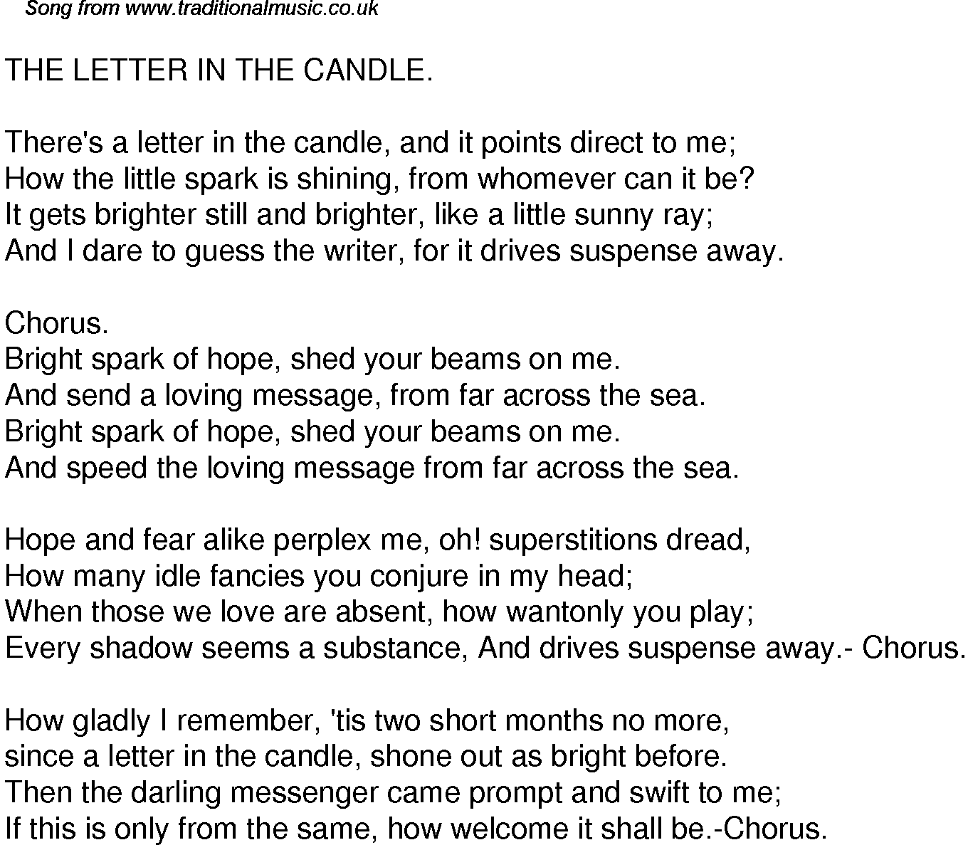 Old Time Song Lyrics for 36 The Letter In The Candle